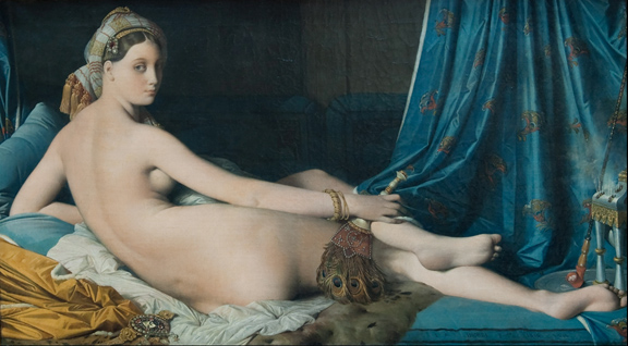 "Jean-Auguste-Dominique Ingres, La Grande Odalisque, 1814, Oil on canvas, 36"" x 63"" / 91 x 162 cm (Musée du Louvre, Paris)"