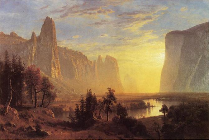 Albert Bierstadt, Yosemite Valley, 1868, oil on canvas, 91.44 × 137.16 cm / 36 × 54 inches (Oakland Museum of California)