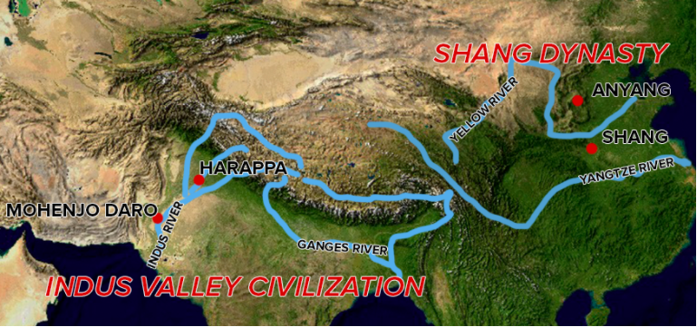 Map Of Indus River Valley And Shang China Civilizations.