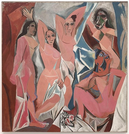 Pablo Picasso, Les Demoiselles d'Avignon, 1907, oil on canvas, 8 x 7 feet and 8 inches (Museum of Modern Art, New York)