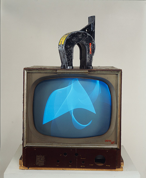 Nam June Paik, Magnet TV, 1965, modified black-and-white television set and magnet (Smithsonian American Art Museum) (© Nam June Paik Estate)