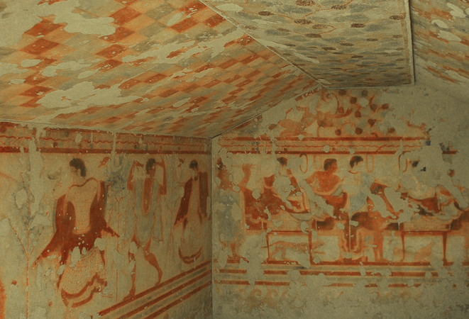 Tomb of the Triclinium, c. 470 BCE (Etruscan chamber tomb, Tarquinia, Italy)