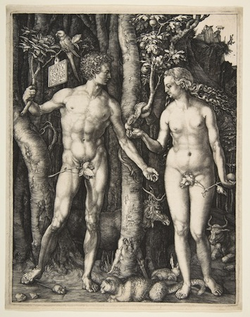 Albrecht Dürer, Adam and Eve, 1504, engraving (fourth state), 25.1 x 20 cm (The Metropolitan Museum of Art)