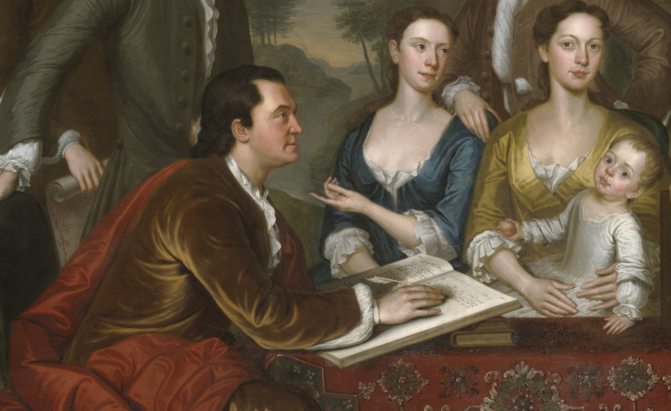 "John Wainwright, Anne Foster and Miss Handcock (detail), John Smibert, The Bermuda Group, 1728, reworked 1739, oil on canvas, 69 1/2 x 93"" / 176.5 x 236.2 cm (Yale University Art Gallery)"