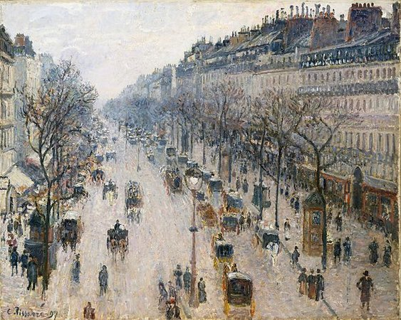 Camille Pissarro, The Boulevard Montmartre on a Winter Morning, 1897, oil on canvas, 64.8 x 81.3 cm (Metropolitam Museum of Art, New York)