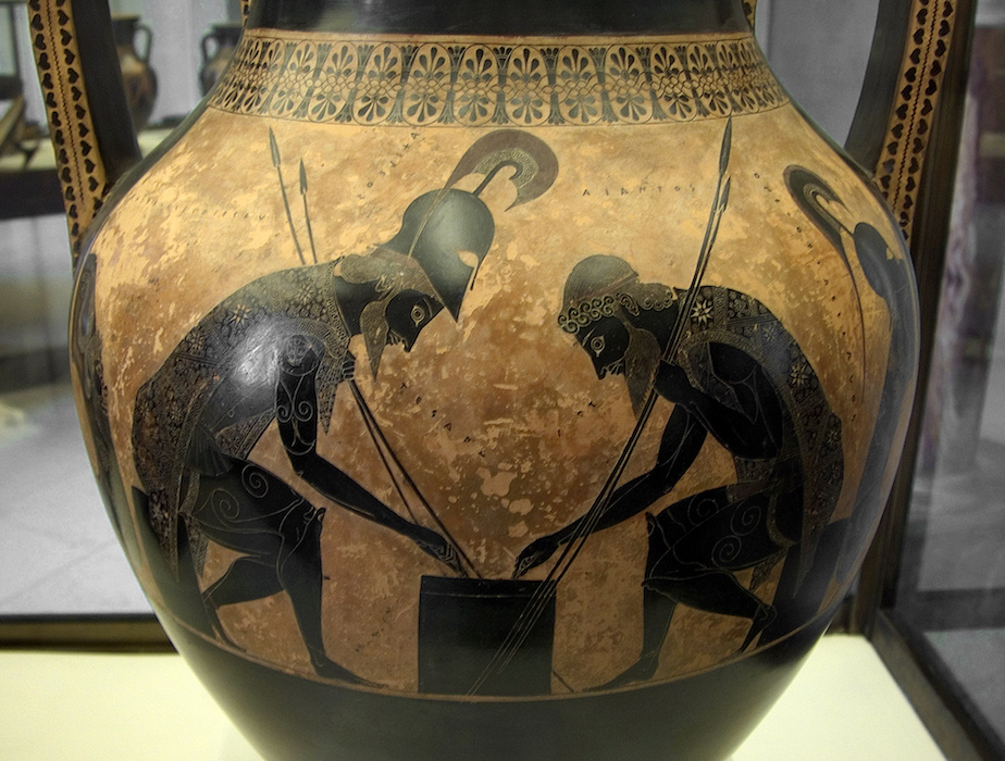 Exekias Amphora With Ajax And Achilles Playing A Game Video