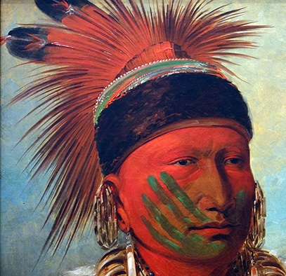 Face painting and headdress (detail), George Catlin, The White Cloud, Head Chief of the Iowas, 1844-45, oil on canvas, 71 x 58 cm. (National Gallery of Art, Washington, D.C.)