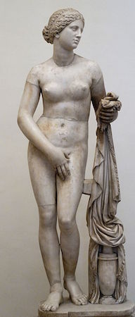 Praxiteles, Aphrodite of Knidos, Roman marble copy after 4th century Greek original (Palazzo Altemps, Rome)