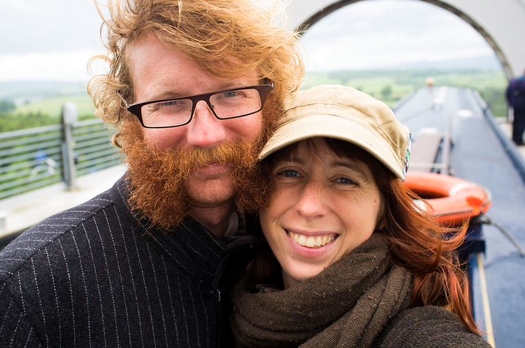 Lauren and Colin, living on a canal boat in Scotland