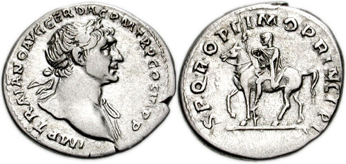 TRAJAN. 98-117 AD. AR Denarius (19mm, 3.35 g, 7h). Struck 112-114/115 AD. IMP TRAIANO AVG GER DAC P M TR P COS VI P P, laureate bust right, drapery on far shoulder S P Q R OPTIMO PRINCIPI, equestrian statue of Trajan left, holding spear and sword (or small Victory).