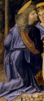 Leonardo's angel (detail), Andrea del Verroccio and Leonardo da Vinci, Baptism of Christ, 1472-1475, oil on wood, 177 x 151 cm (Uffizi, Florence)