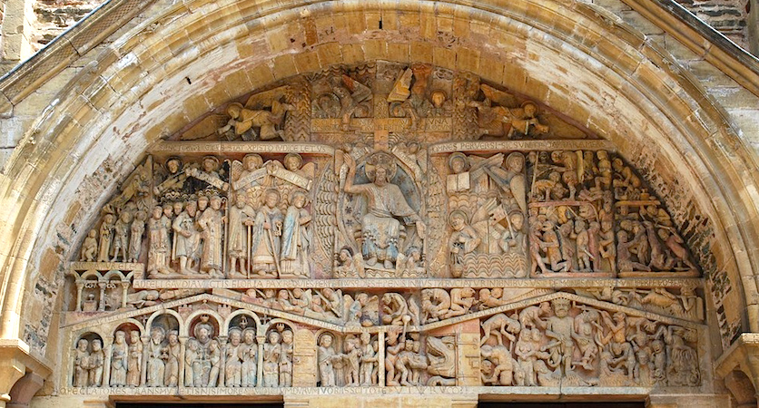 Last Judgment tympanum, Church of Sainte‐Foy, France, Conques, c. 1050–1130 (photo: Òme deu Teishenèir, CC BY-SA 2.0)
