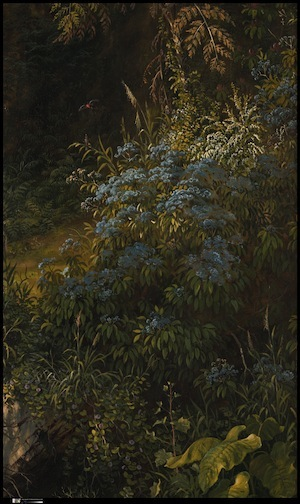 Minute detail of flowers, wind, and seasons (detail), Frederic Edwin Church, Heart of the Andes, 1859, oil on canvas, 168 x 302.9 cm (The Metropolitan Museum of Art)