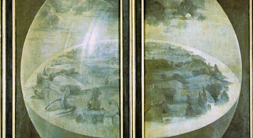 Outer panels (detail), Hieronymus Bosch, The Garden of Earthly Delights, c. 1480-1505, oil on panel, 220 x 390 cm (Prado)