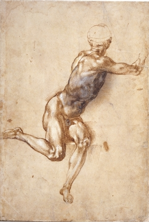 Michelangelo, A seated male nude twisting around, pen and brown ink drawing with brown and grey wash and lead white, c. 1404-5, 42.1 x 28.7 cm, © Trustees of the British Museum.