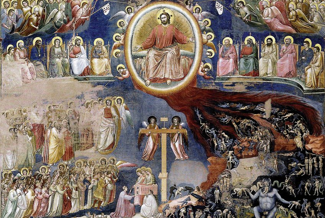 Giotto, Last Judgment on the west wall, c. 1305, fresco (Arena/Scrovegni Chapel, Padua)