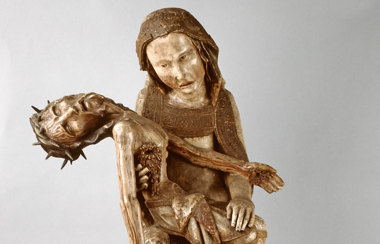 Röttgen Pietà, c. 1300-25, painted wood, 34 1/2 inches high (Rheinisches Landesmuseum, Bonn)