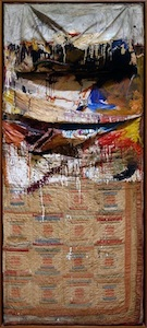Robert Rauschenberg, Bed, 1955, oil and pencil on pillow, quilt, and sheet on wood supports, 191.1 x 80 x 20.3 cm (The Museum of Modern Art, New York)
