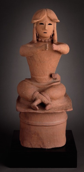 Haniwa: Tomb Sculpture of a Seated Warrior, Japan, late Tumulus period, c. 500-600 C.E., coil-built eathenware with applied decoration, 31 x 14 3/8 x 15 inches / 78.7 x 36.5 x 38.1 cm (Los Angeles County Museum of Art)