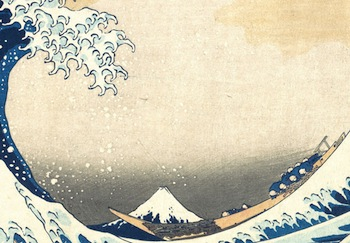 Fishing boats (detail), Under the Wave off Kanagawa,  from the series Thirty-six Views of Mount Fuji, c. 1830-32, polychrome woodblock print; ink and color on paper, 10 1/8 x 14 15 /16 inches / 25.7 x 37.9 cm (The Metropolitan Museum of Art, New York)