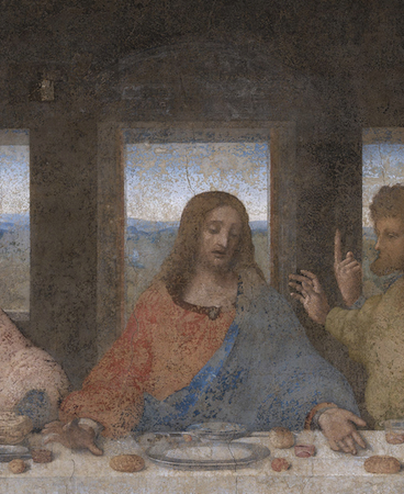 Christ (detail), Leonardo da Vinci, Last Supper, 1498, tempera and oil on plaster (Santa Maria della Grazie, Milan)