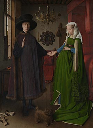 Jan Van Eyck, The Arnolfini Portrait, tempera and oil on wood, 1434, 82.2 x 60 cm (National Gallery, London)