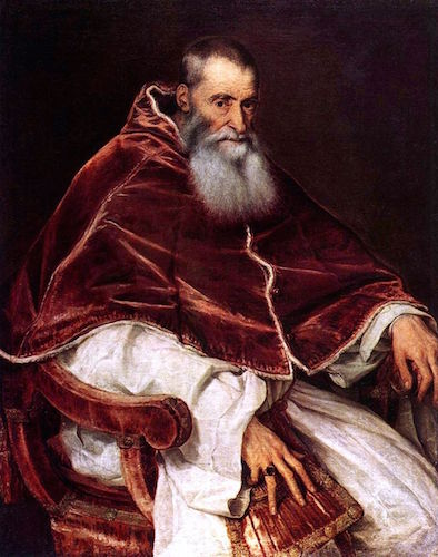 Titian, Portrait of Pope Paul III, c. 1543, oil on canvas, 113.3 x 88.8 cm (Museo di Capodimonte, Naples)