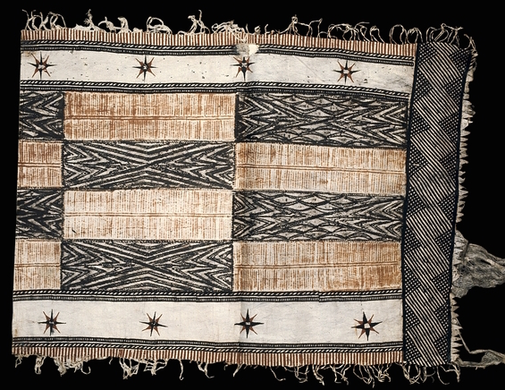 Barkcloth strip, Fiji, c. 1800-50, worn as a loin cloth, decorated with a combination of free-hand painting, cut out stencils and by being laid over a patterned block and rubbed with pigment (The British Museum)