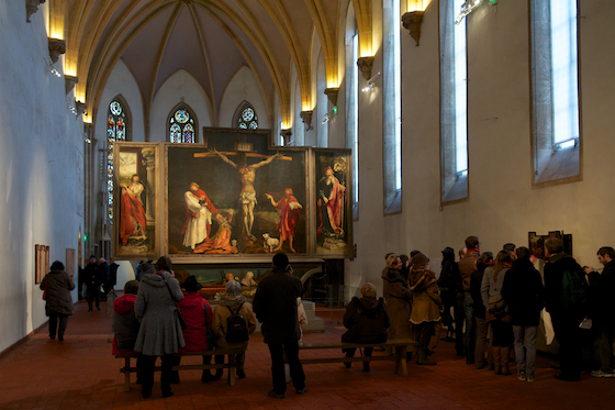 "Matthias Grünewald, Isenheim Altarpiece, view in the chapel of the Hospital of Saint Anthony, Isenheim, c. 1510-15, oil on wood, 9' 9 1/2"" x 10' 9"" (center panel) (Unterlinden Museum, Colmar, France) (Photo: Lars Nilse, CC BY-SA 2.0)"