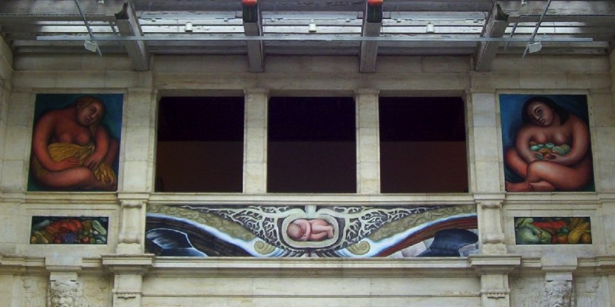 East wall (detail), Diego Rivera, Detroit Industry murals, twenty-seven fresco panels at the Detroit Institute of Arts (photo: Maia C, CC BY-NC-ND 2.0)
