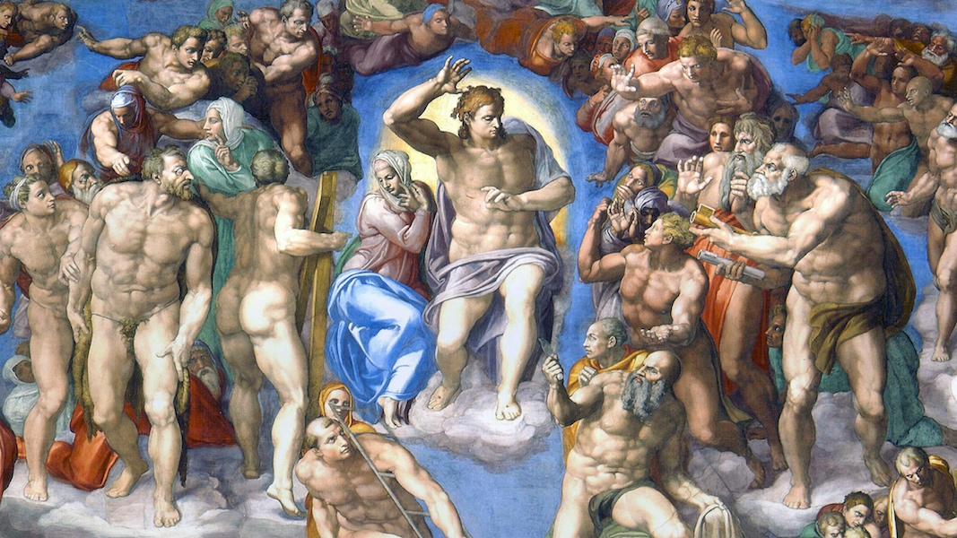 Christ, Mary, and Saints (detail), Michelangelo, Last Judgment, Sistine Chapel, altar wall, fresco, 1534-1541 (Vatican City, Rome)