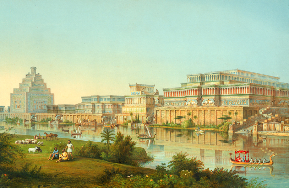 Reconstruction drawing of Nimrud, the site of an ancient Assyrian palace, by James Fergusson for Sir Henry Layard, published in 1853. The columns depicted here were never found. The reconstruction is clearly influenced by what was known at that time of Greco-Roman architecture and by John Martin's Fall of Nineveh (1829)