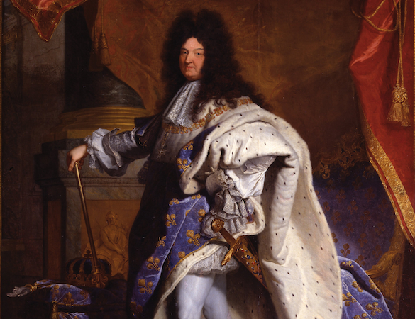 "The king (detail), Hyacinthe Rigaud, Louis XIV, 1701, oil on canvas, 9'2"" x 6'3"" (Musée du Louvre, Paris)"