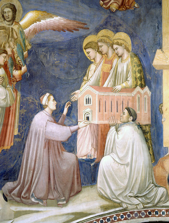 Enrico Scrovegni assisted by a priest, presents the chapel to the Virgin Mary and two other figures (detail), Giotto, Last Judgment, c. 1305, fresco cycle, Arena (Scrovegni) Chapel, Padua