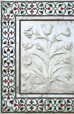 Carving and inlaid stone, Taj Mahal, Agra, India, 1632-53, photo: Martin Lambie (CC BY-NC-SA 2.0)