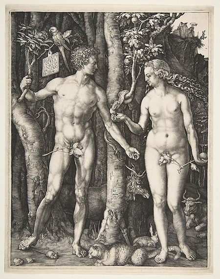 Albrecht Dürer, Adam and Eve, 1504, engraving, fourth state, 25.1 x 20 cm (The Metropolitan Museum of Art)