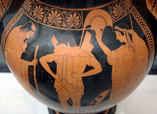 Euthymides, Three Revelers (Athenian red-figure amphora), c. 510 B.C.E., 24 inches high (Staatliche Antikensammlungen, Munich)