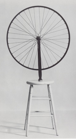 Marcel Duchamp, Bicycle Wheel, 1951 (third version, after lost original of 1913), metal wheel mounted on painted wood stool, 129.5 x 63.5 x 41.9 cm (The Museum of Modern Art, New York)