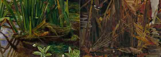 Convincing illusionism in reeds (detail, left), Sir John Everett Millais, Ophelia, 1851-52, oil on canvas, 762 x 1118 mm (Tate Britain, London) and more evident brushstrokes in reeds (detail, right) John William Waterhouse, The Lady of Shalott, 1888, oil on canvas, 153 x 200 cm (Tate Britain, London)