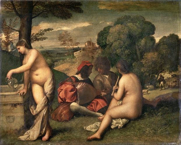 Titian,Pastoral Concert, c. 1509, 105 x 137 cm (Louvre)