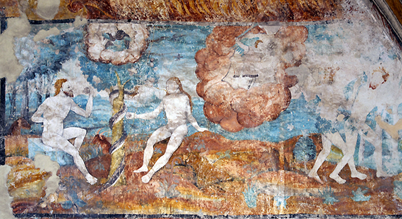 Adam and Eve in the Garden of Eden (left) and expulsion from the Garden of Eden (right), open chapel, Convent of San Nicolás Tolentino, 1546 and after, Actopan, Hidalgo, Mexico