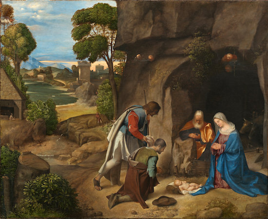 "Giorgione, The Adoration of the Shepherds, 1505/1510, oil on panel, 35 3/4 x 43 1/2"" / 90.8 x 110.5 cm (National Gallery of Art)"