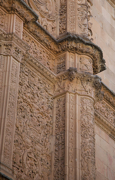 Plateresque style façade (detail), University of Salamanca, 1415 and after, Spain (photo: markjhandel, CC BY 2.0)