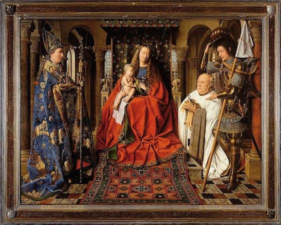 Patrons often asked to be included in the painting they commissioned. When patrons appear in a painting we usually refer to them as donors. In this painting, the donor is shown kneeling on the right before the Virgin Mary and the Christ Child. Jan van Eyck, The Virgin and Child with Canon van der Paele, oil on wood, 141 x 176.5 cm (including frame), 1434-36 (Groeningemuseum, Bruges).