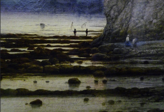 Figures in the distance (detail), William Dyce, Pegwell Bay, Kent - a Recollection of October 5th, 1858, 1858-60, oil on canvas, 63.5 x 88.9 cm (Tate Britain, London) (photo:  Steven Zucker, CC BY-NC-SA 2.0)