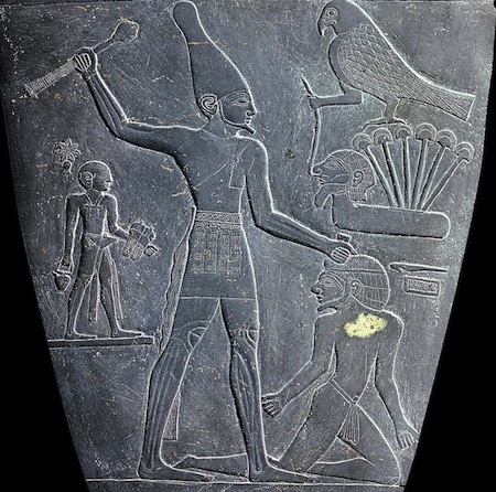 "Detail, Palette of King Narmer, from Hierakonpolis, Egypt, Predynastic, c. 3000-2920 B.C.E., slate, 2' 1"" high (Egyptian Museum, Cairo)"
