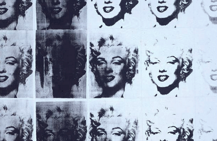 Detail, Andy Warhol, Marilyn Diptych, 1962, acrylic on canvas, 2054 x 1448 mm (Tate) © The Andy Warhol Foundation for the Visual Arts, Inc. 2015