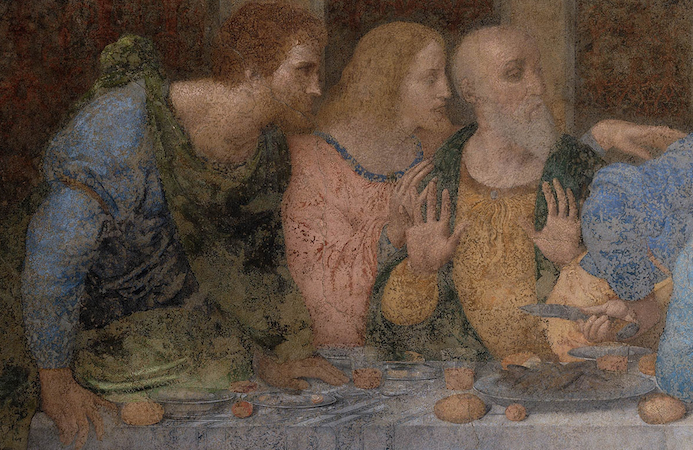 Bartholomew, James Minor, and Andrew (detail), Leonardo da Vinci, Last Supper, 1498, tempera and oil on plaster (Santa Maria della Grazie, Milan)