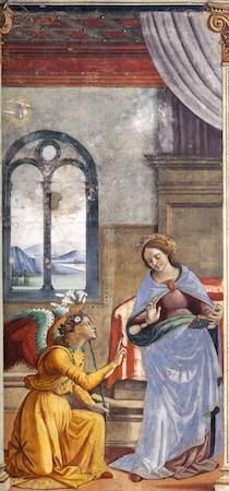 Domenico Ghirlandaio, Annunciation, c. 1485-90, fresco (Cappella Maggiore, Santa Maria Novella, Florence)