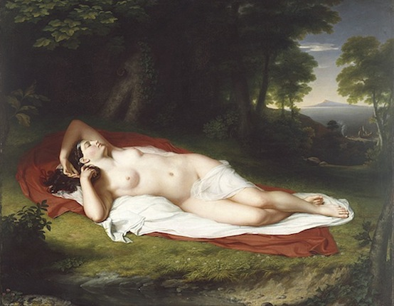 "John Vanderlyn, Ariadne Asleep on the Island of Naxos, 1809-14, oil on canvas, 68 1/2 x 87"" / 174 x 221 cm (Pennsylvania Academy of the Fine Arts)"